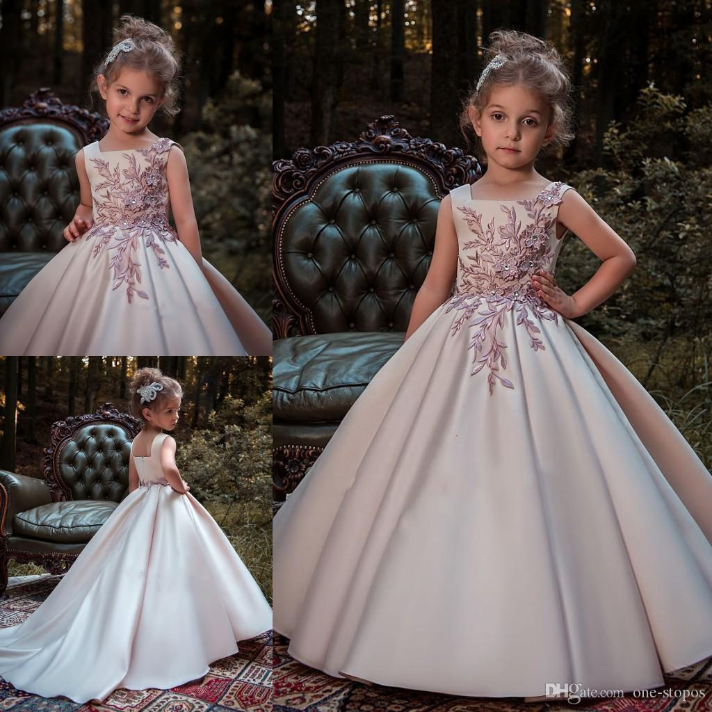 66143995bb1460 Princess Nude Pink Lace Flower Girls Dresses 2018 New Satin Sleeveless  First Communion Birthday Party Gowns Girls Pageant Dress For Weddings Girls  Boutique ...