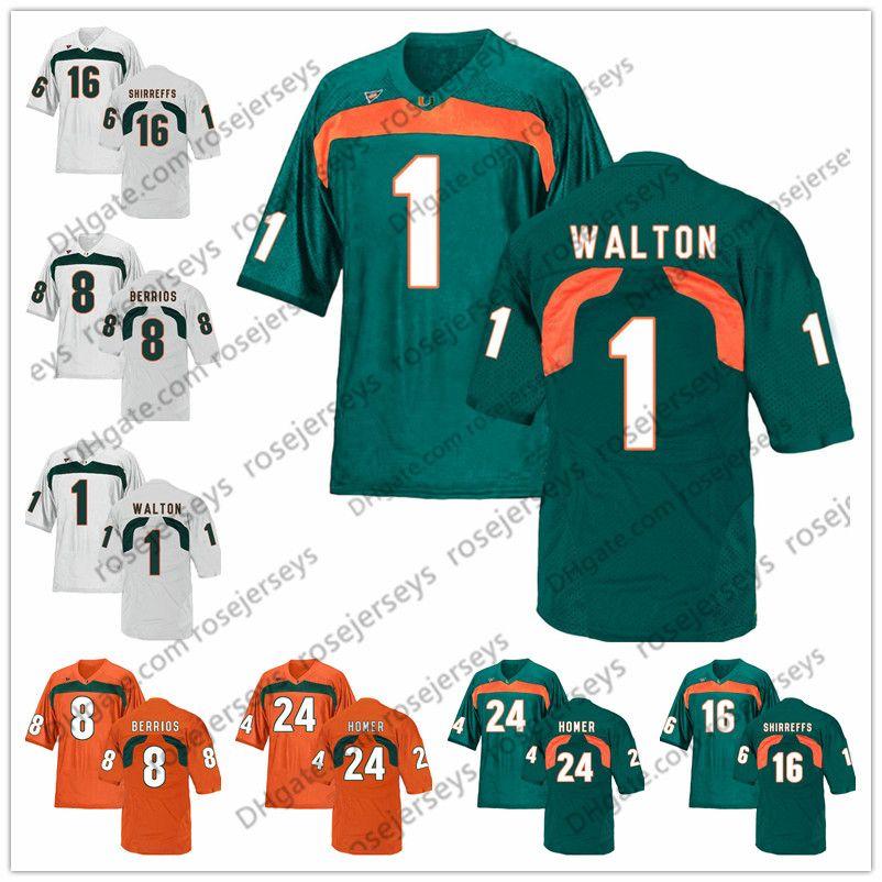 quality design 34c1d 6a774 NCAA Miami Hurricanes #1 Mark Walton 8 Braxton Berrios 16 Evan Shirreffs 24  Travis Homer Old Green Orange White Stitched Football Jerseys