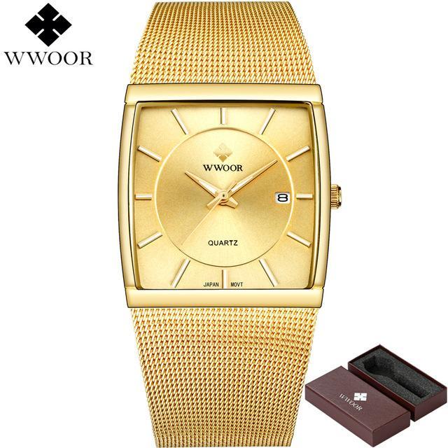 231c290aed9 Compre WWOOR Relógios Dos Homens De Quartzo À Prova D  Água Relógio  Quadrado Masculino Marca De Luxo Em Aço Inoxidável Relógio De Ouro Homens  Relógio De ...
