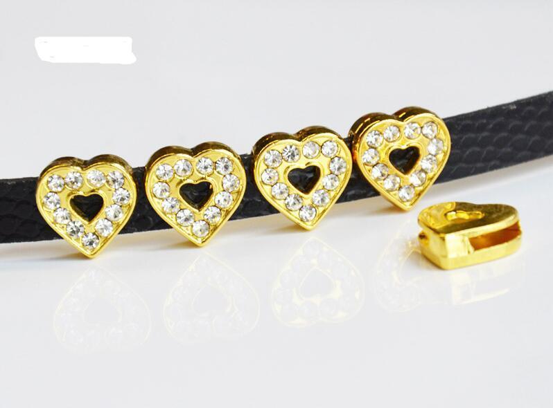 2019 10mm DIY Accessory Full Rhinestone 10mm Inner Dia. Gold Heart ... 6b7899515dbd