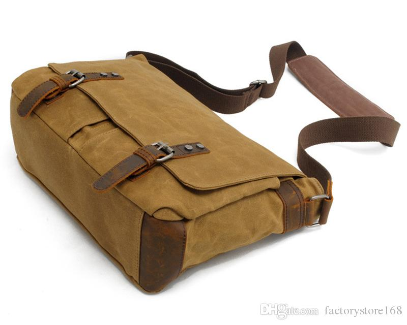 Vintage shoulder men casual messenger bag canvas laptop crossbody bags waterproof mesenger bags with leather stra