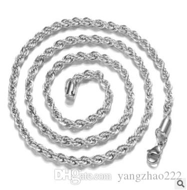 Fashion Women and Men 2mm silver Twisted rope Necklace Chain Necklace For High Quality Jewelry Chain
