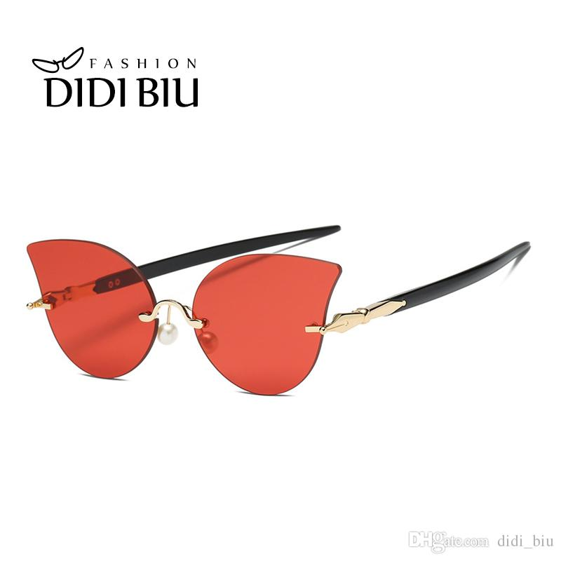 5df7d83099 DIDI Rimless Cat Eye Sunglasses Women Brand Designer Transparent Red ...