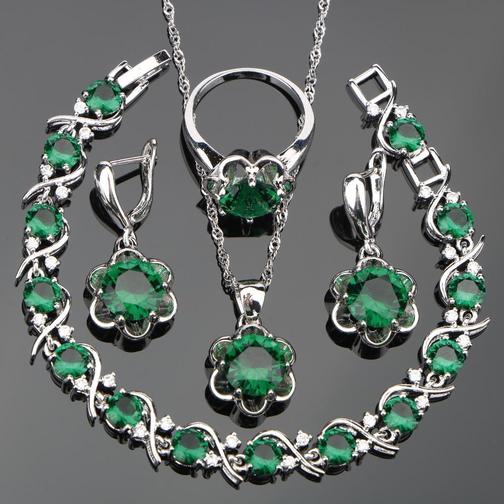 fd20ac52c5a7 Compre Ewelry Juego Pulsera Verde Circón Joyería Mujer Plata 925 Bisutería  Conjuntos Collar Pulseras Pendientes Con Piedras Anillos Colgante Conjunto .