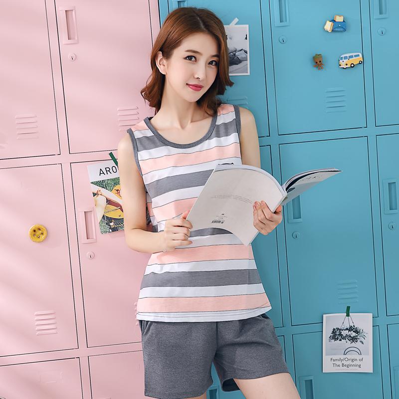 d93616fdb 2019 Plus Size 100% Cotton Sleeveless Pajama Set For Women 2018 ...