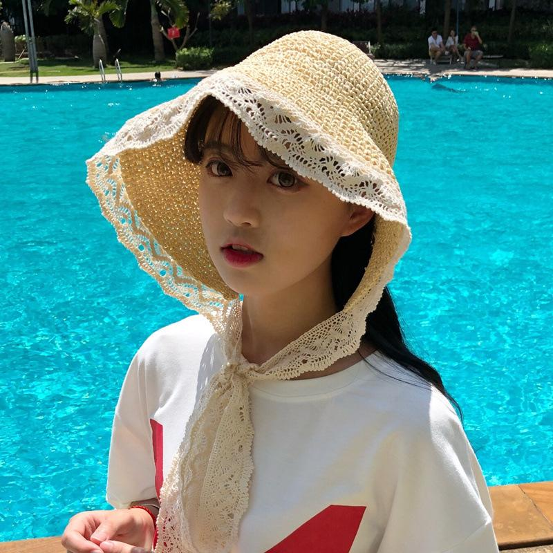 4c0c315987c1f 2018 Hot Sale French Mori Girl Style Lace Sunshade Straw Hat Summer Take A  Holiday Windproof Beach Hat Bucket Hat Fedora Hat From Harrieta