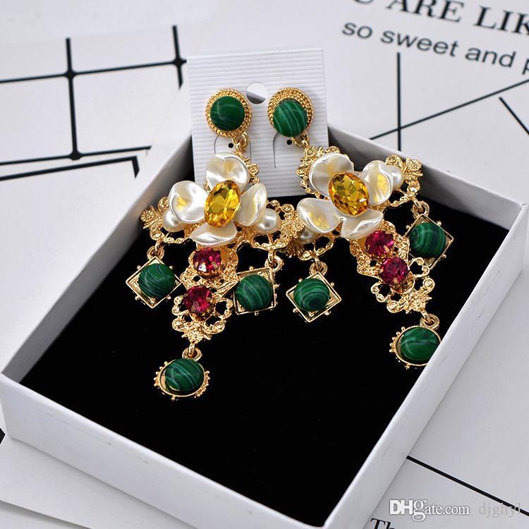 baroque earrings retro cross pendant tassel long big earring luxury crystal metal cross dangle green auger drop ea