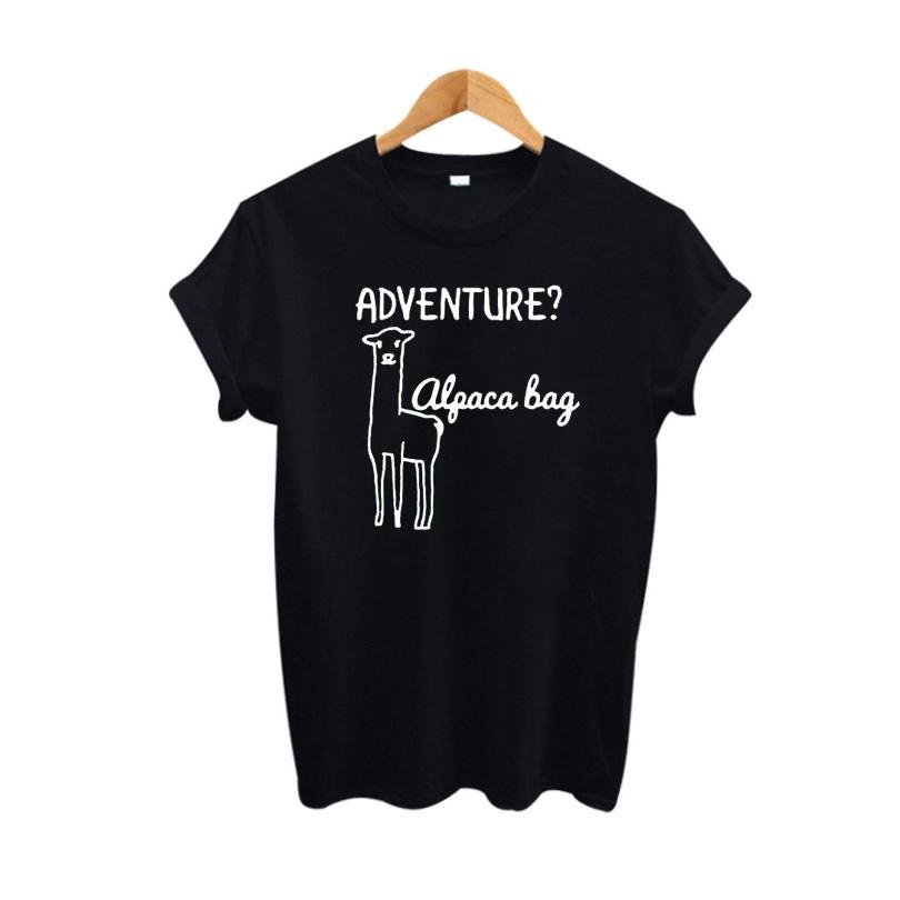 a1063fd78bc12 Women S Tee Cute Alpaca Llama T Shirt Cartoon Graphic Tees Women Tops Summer  2017 Hipster Funny T Shirts Black White Tee Shirt Femme Formal Shirts Denim  ...