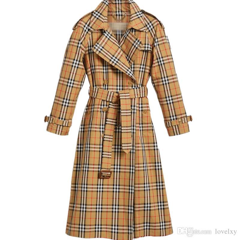 Frauen Windjacke Plaid zweireihig Gürtel im langen Mantel Schlank britischen Stil Temperament Frühling und Herbst Shirt