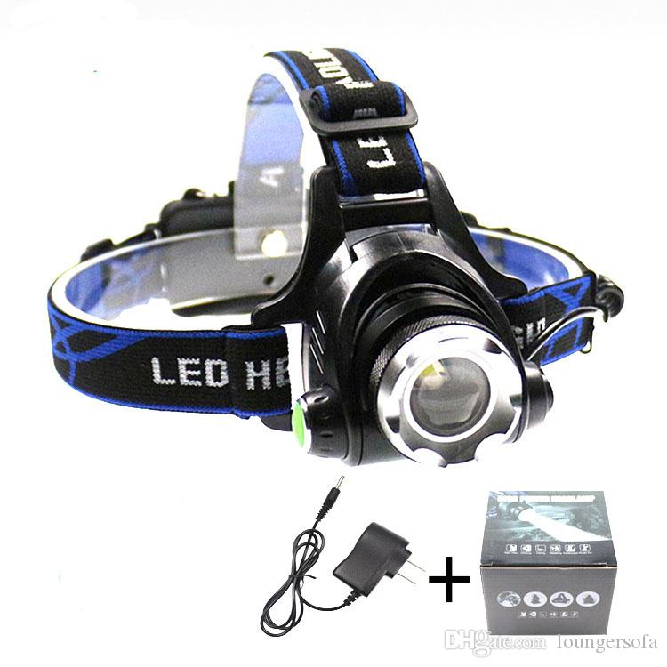 Fishing Useful Headlamps Equipment 3 Level Adjustable Torch Rechargeable Battery Flashlights Telescopic Focusing With Rubber Button 23tc ZZ