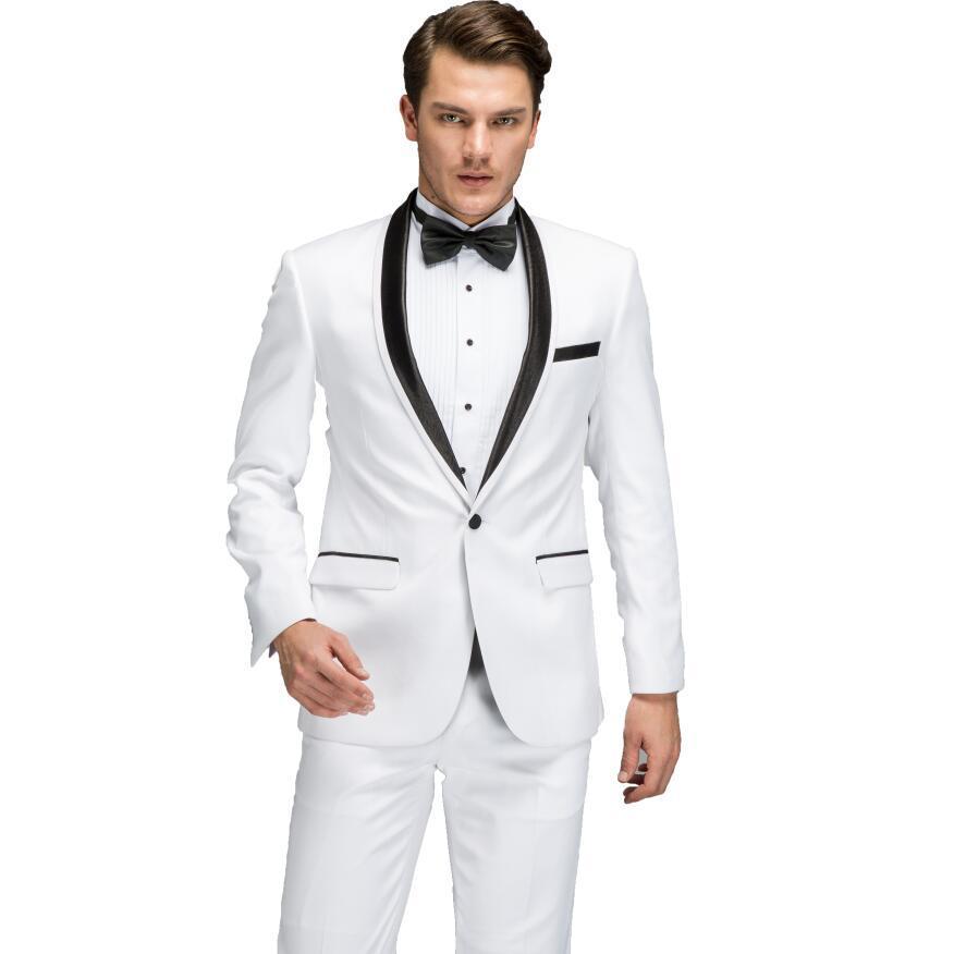 Acquista Abiti Da Sposa Uomo 2018 Ultimi Gilet Pantaloni Gilet Disegni Nero  Cravatta Abito Completo Sposo Abito Da Sposa Slim Fit Colletto Tondo Bianco  A ... ad61efc0551