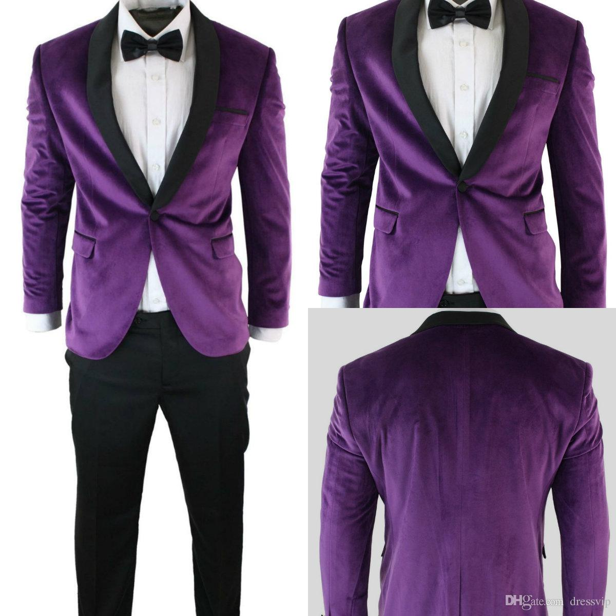 2e8cd9688a9 2018 Mens Suits Mens Velvet Tuxedo Dinner Suit Black Purple Slim Fit  Wedding Party Prom Shawl Purple Formal Prom Suit Custom Made Jacket Blue  Prom Tuxedos ...