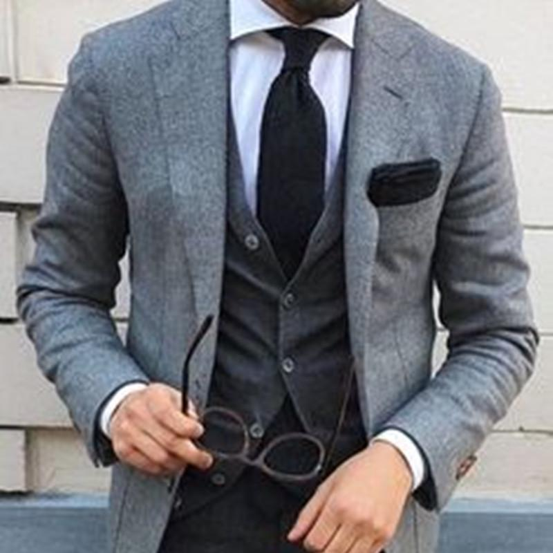 gro�handel neuesten mantel hose designs grau tweed m�nner anzug slim  gro�handel neuesten mantel hose designs grau tweed m�nner anzug slim fit 3 st�ck smoking benutzerdefinierte br�utigam anz�ge blazer terno masculino jacke