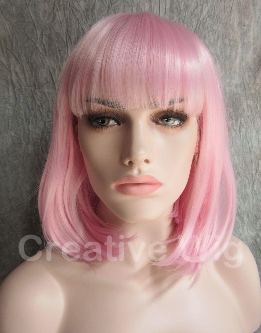 Compre Agradable Corto Rosa Claro Lady Gaga Traje Bob Lady Mujeres ...