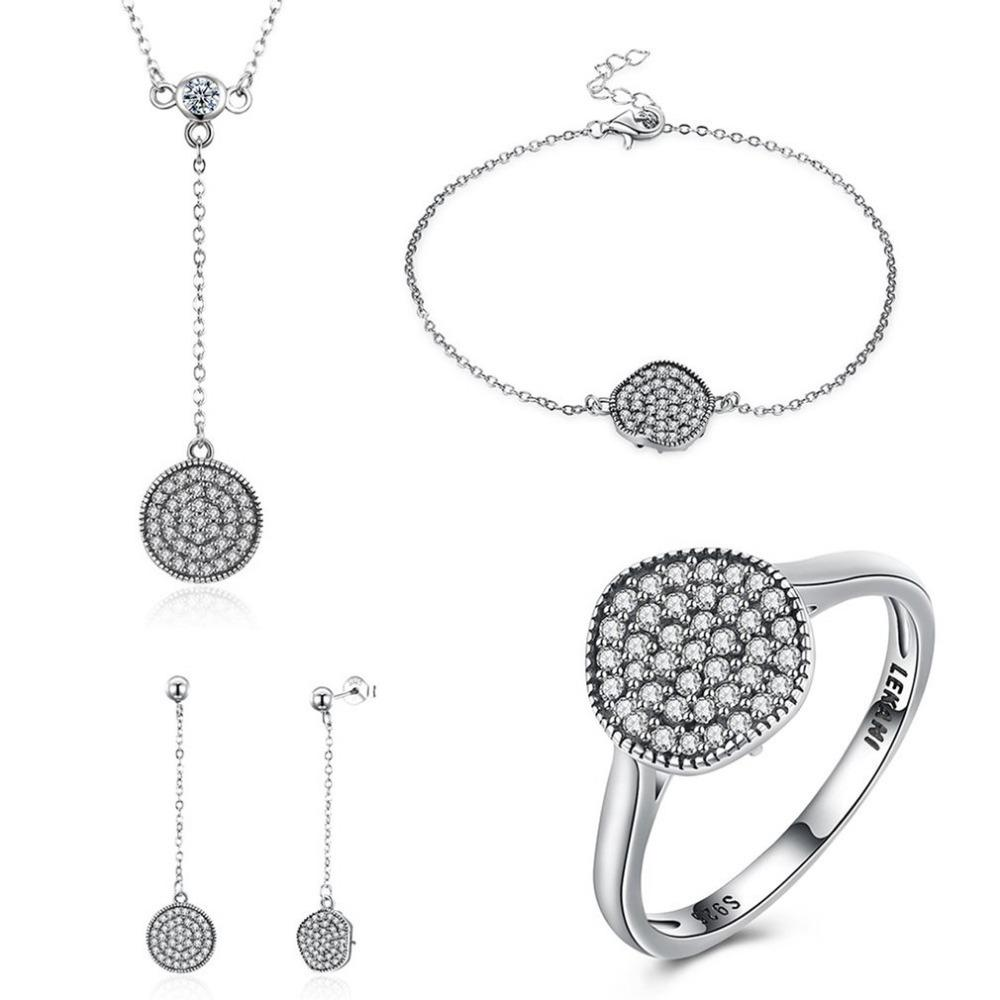 b0be7e4c2 2019 Fine Jewelry 100% 925 Sterling Silver Wedding Jewelry Sets With  Pendant Necklace/Bracelet/Ring/Earrings For Women Girls From Baozii, $38.83  | DHgate.