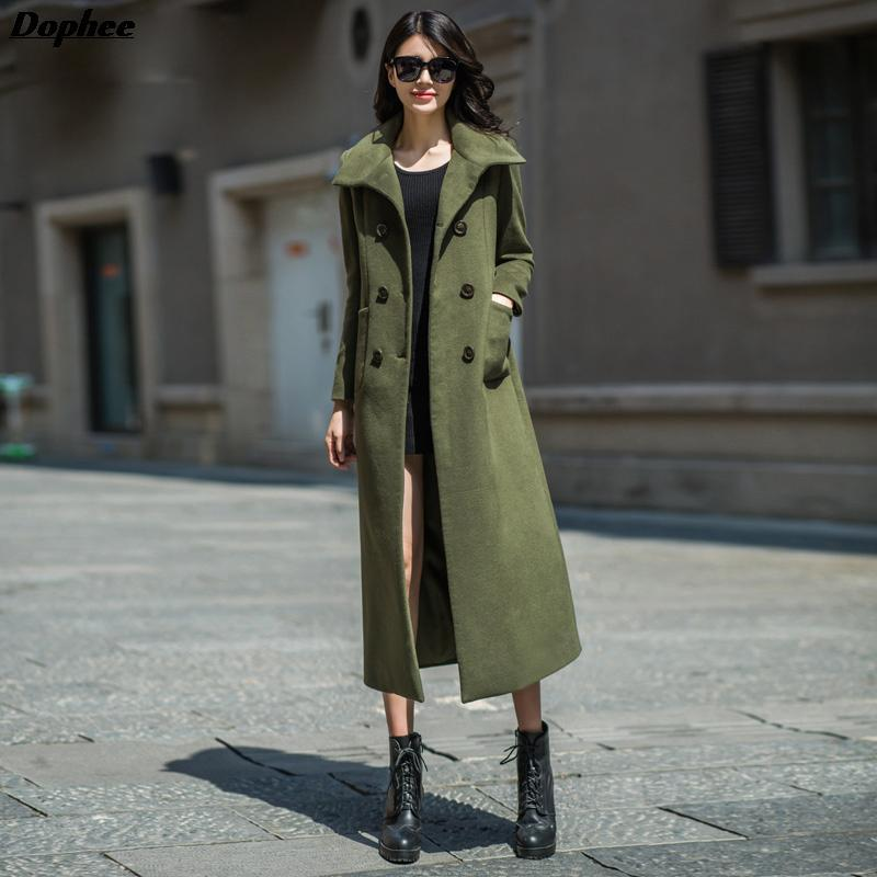 20e0c02b2ed 2019 2017 New Arrival Winter Woolen Long Trench Coats Women s Plus Size  Army Green Color High Quality Wool Overcoats S 4XL From Eventswedding