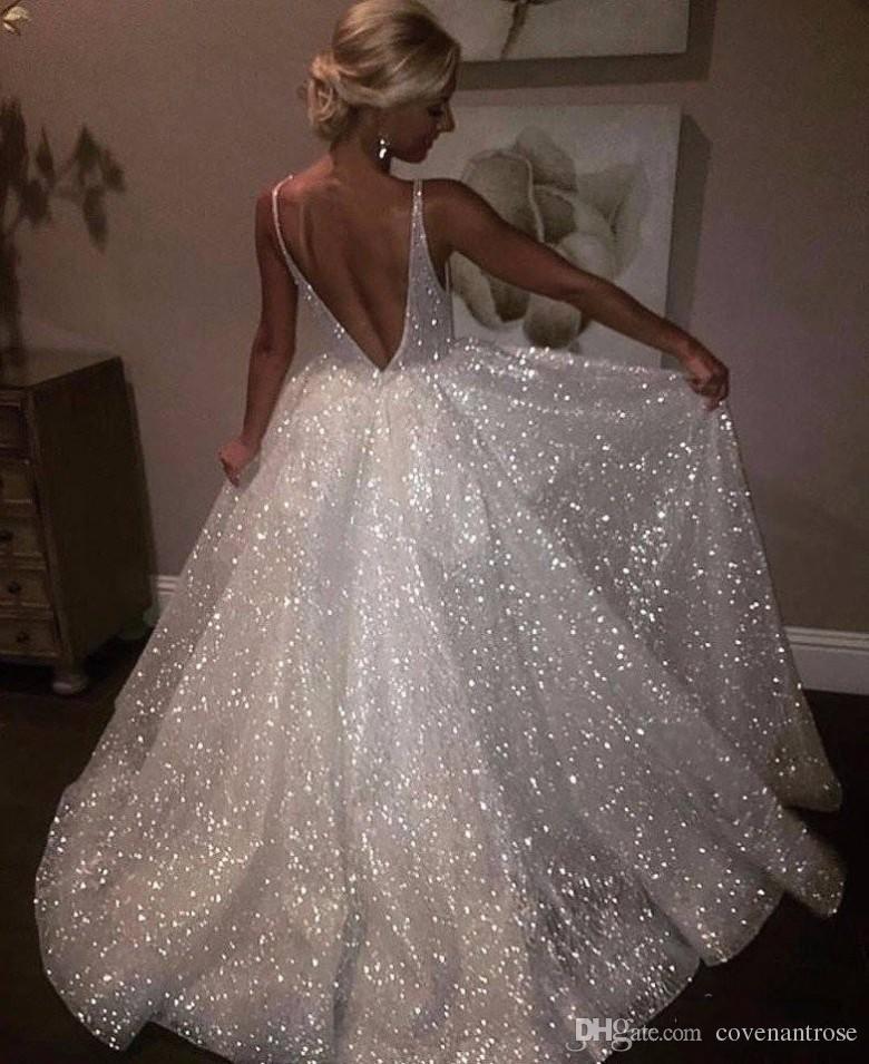 Branco faísca vestidos de noite de lantejoulas decote em v profundo sexy baixo de volta longo prom vestido barato pageant vestidos ocasião especial desgaste