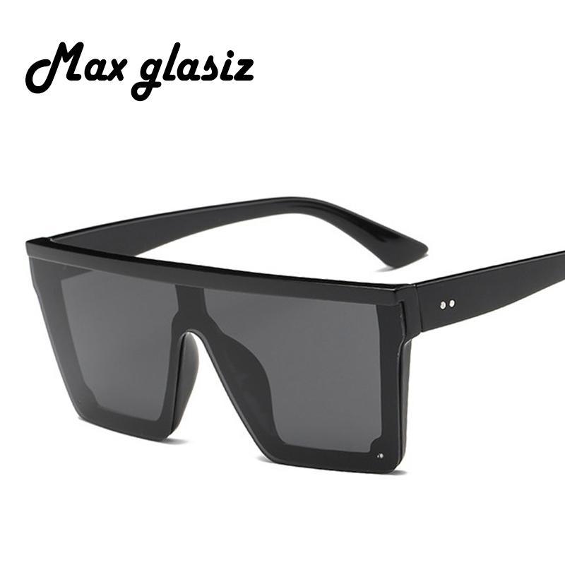 65e9bc9c87361 Compre Max Glasiz 2018 Quadrado Óculos De Sol Das Mulheres Grande Quadrado  Óculos De Sol Dos Homens Quadro Preto Do Vintage Retro Óculos De Sol  Feminino ...
