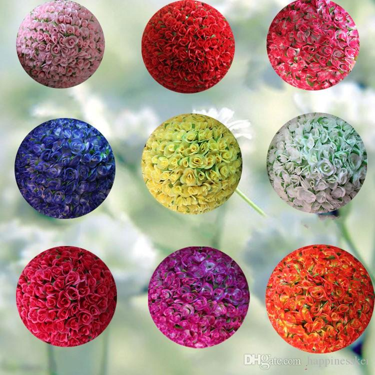 40 cm Elegant Artificial Decorative Silk Flowers Rose Kissing Ball DIY Craft Ornament For Wedding Party Decoration Supplies