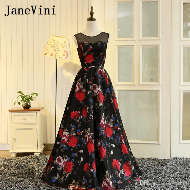 72efa21bf8 JaneVini 2018 Floral Print Long Prom Dresses Girls Evening Gowns Elegant  Black Tulle Red Flowers Pattern Sleeveless Formal Party Gowns Prom Dresses  Unique ...