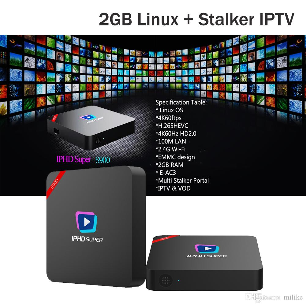 Newest IPHD super S900 IPTV smart tv box built-in Stalker 4K streaming  media player Linux OS 2GB ram Built-in 2 4G WIFI support LAN Port STB
