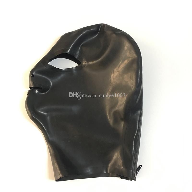 2018 black unisex exotic New design open eyes and mouth handmade Latex Catsuits Costume cute Hoods Mask