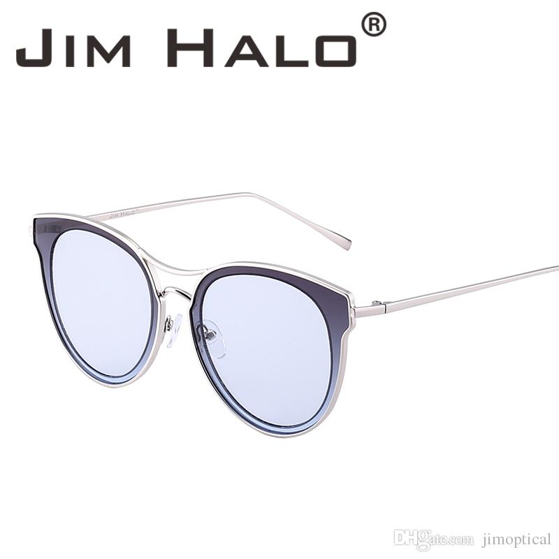 eeff0d16918 Jim Halo Cat Eye Oversized Clear Flat Round Lens Sunglasses Women ...