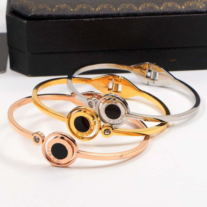 316L Stainless Steel Bangles For Women Men 18KGP Rose Gold White Shell Bracelets Spring Letter Female Wedding Jewelry No Fade