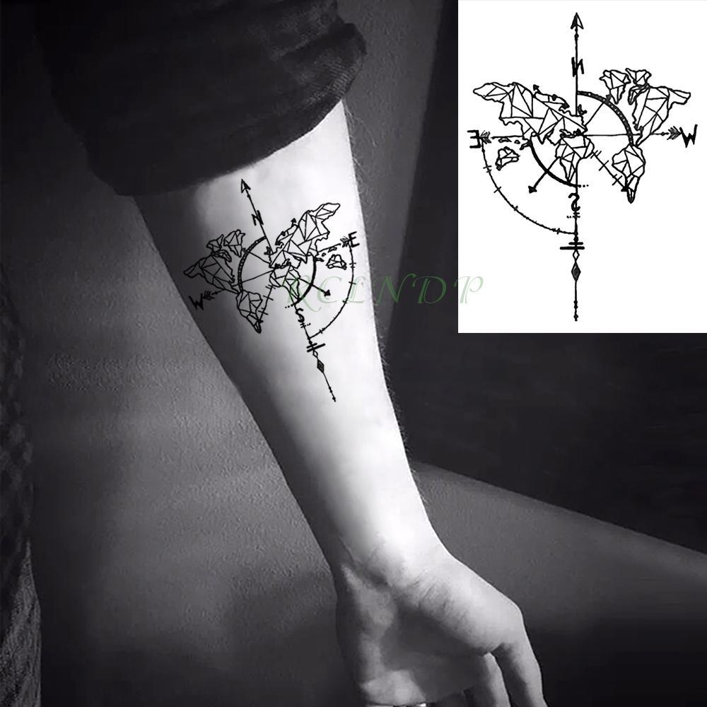 Grosshandel Wasserdicht Temporare Tattoo Aufkleber Kompass Flash