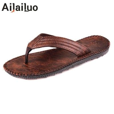 ac2e2cb88461 PU Leather Men Beach Slippers Fashion Flip Flops With Soft Sole Trendy  Breathable Easy To Match Men Summer Shoes 3433 Men s Sandals Cheap Men s  Sandals PU ...
