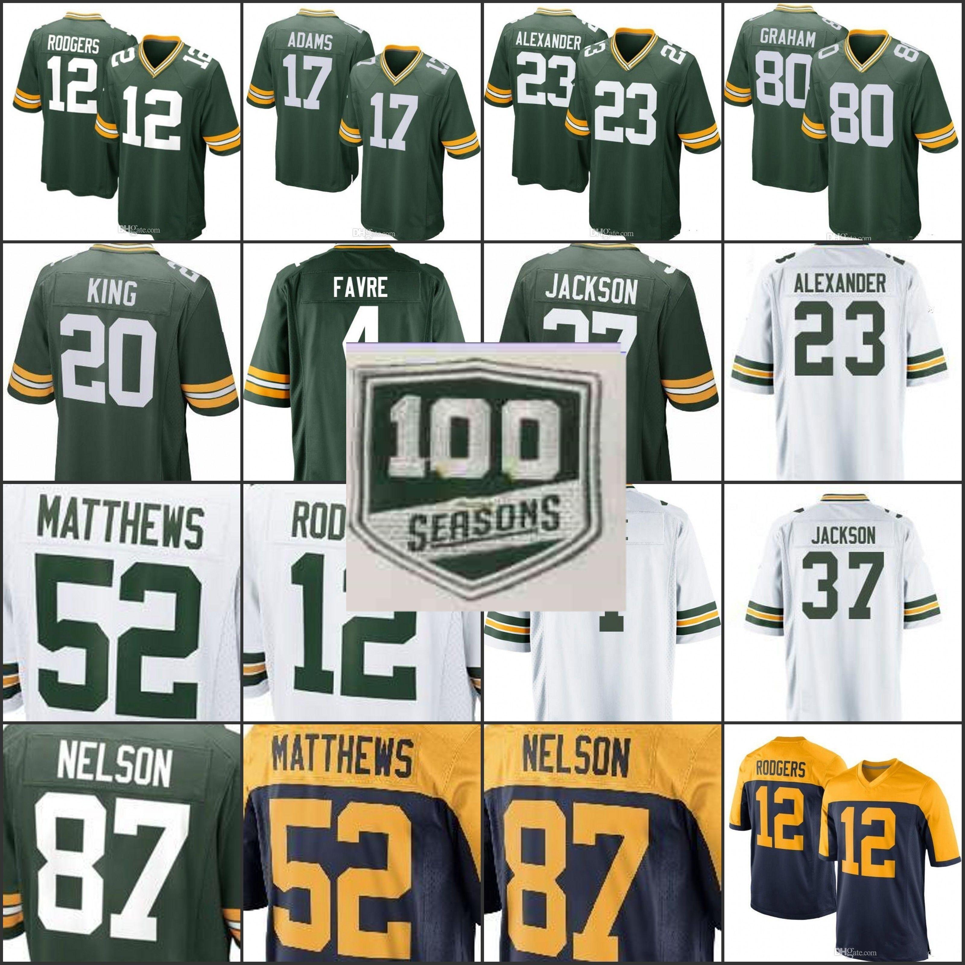 on sale bda8d 05a97 100th season patch Packers Jersey Jimmy Graham 12 Aaron Rodgers Jaire  Alexander Jackson Brett Favre Davante Adams Clay Matthews 01