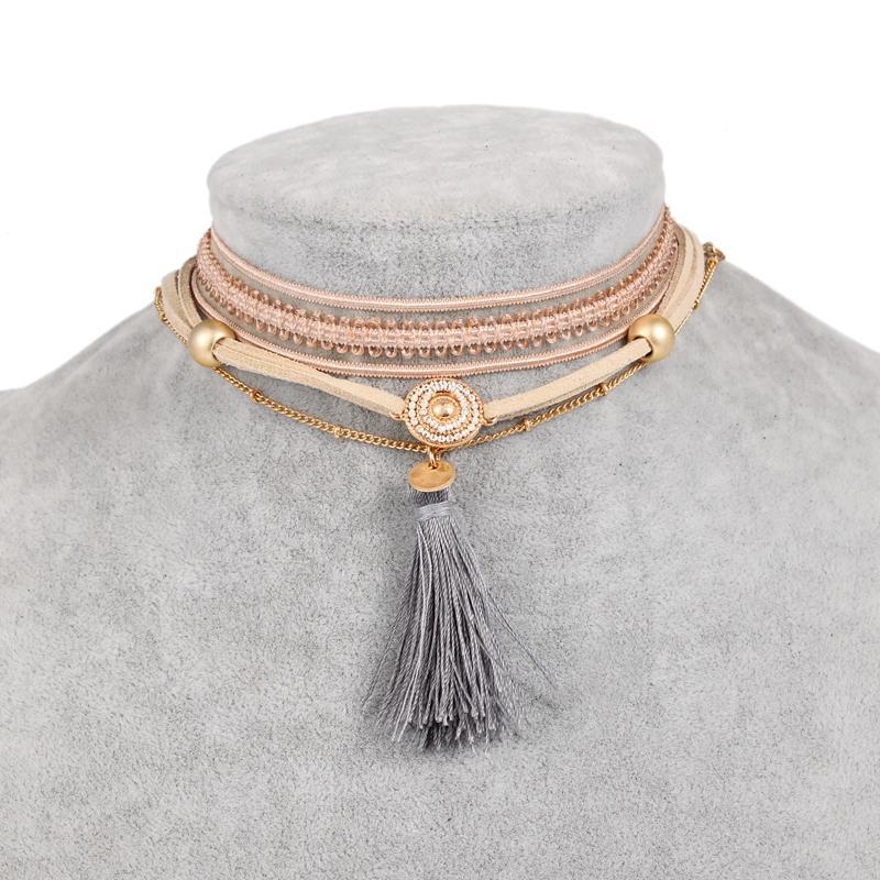 Danze Vintage Koronki Choker Colar 3 Sztuk Zestaw Slim Skórzany Łańcuch Tassel Naszyjniki Dla Kobiet Boho Handmade Biżuteria Collier