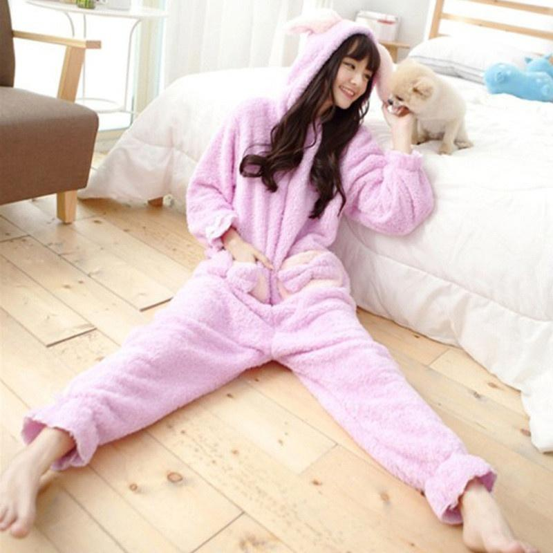 fa8512706a 2019 Women Coral Fleece Pajamas Solid Thick Warm Hooded Pajamas Onesie For  Women Lady Soft Sleepwear Nightwear From Max4075