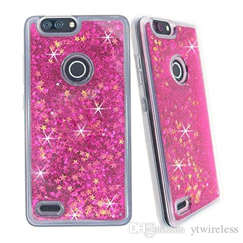 buy popular 5d3dc 1c29d For ZTE BLADE X Z965 TEMPO WARP 8 Z MAX Z982 TPU Oil Liquid water Glitter  Bling Case Floating Stars Colorful Cover CASE