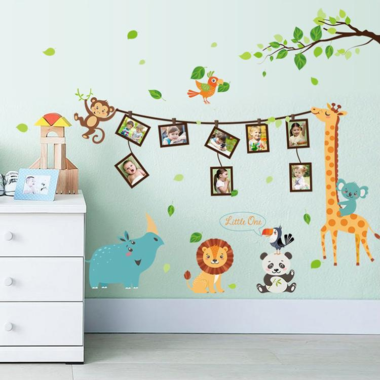Cartoon Animal Photo Frame Large Wall Stickers Animals Decals Kids Room  Decor Bedroom Kindergarten School Diy Removable Vinyl Decals Wall Vinyl  Decals Walls ...