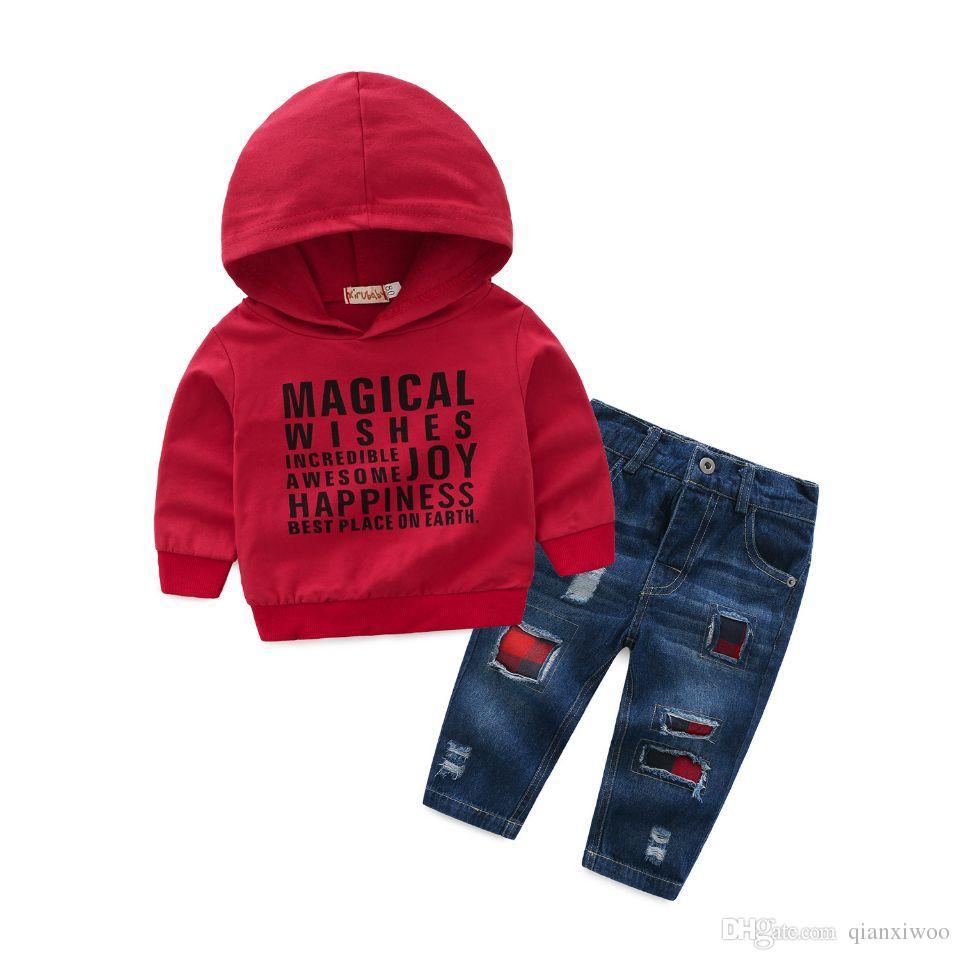 3473c2823 2018 Autumn Baby Boys Clothes Set Kids Letters Hooded Sweatshirt + Jeans  Kids 2pcs Clothing Suit Children Outfits Boy Set W239