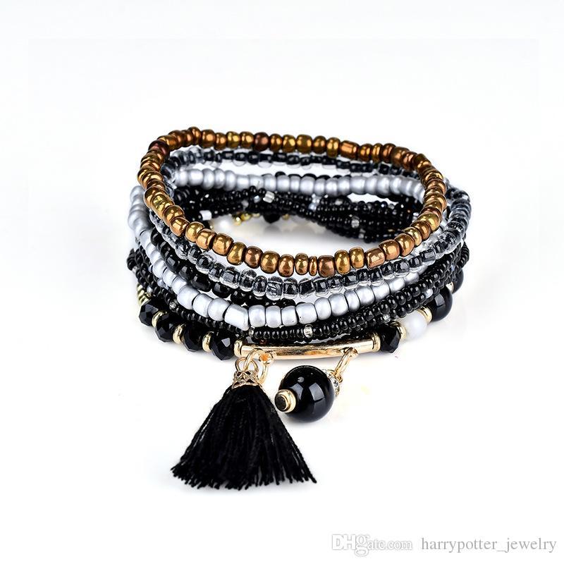 Богемный стиль Звезда Шарм бусины браслеты для женщин Boho кисточкой многослойные имитация жемчужный браслет ювелирных изделий партии подарок корабль падения 320118