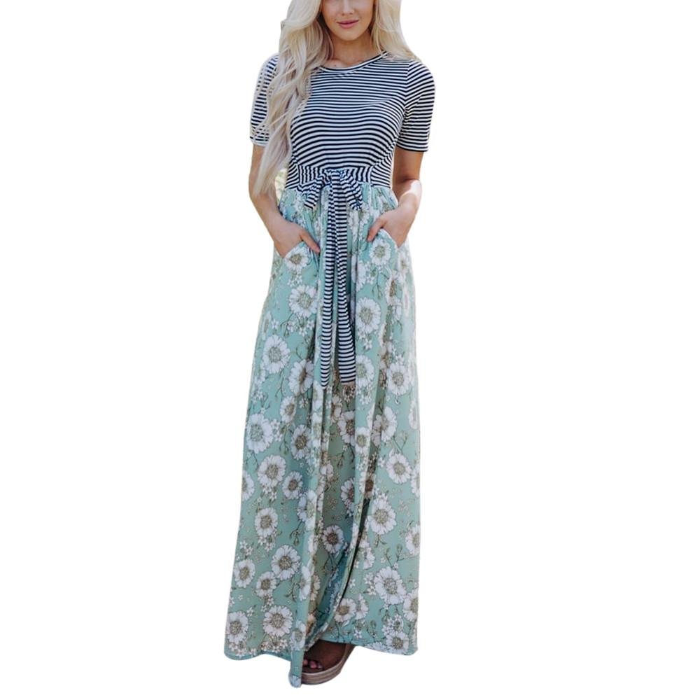 Women Floral Tank Maxi Dress Pocket Short Sleeve Casual Summer Long
