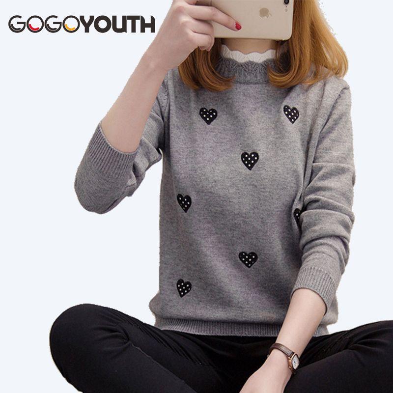 Compre Gogoyouth Corazón Bordado Invierno Suéter De Las Mujeres Para 2018  Otoño Coreano Elegante De Punto Jumper Señoras Pullover Mujer Pull Femme  S18100902 ... 5d0c18a7c593