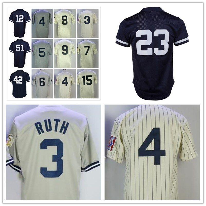 detailed look d5d2b 68627 Men Don Mattingly Bernie Williams 3 Babe Ruth 7 Mickey Mantle 5 Joe  DiMaggio M&N Mesh Batting Wade Boggs Turn Back Stitched Baseball Jerseys