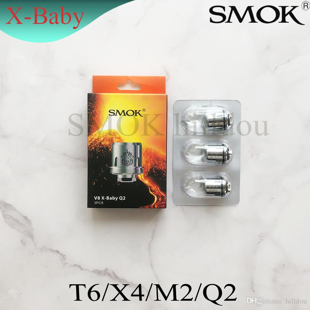 Authentic SMOK TFV8 X-Baby Coil Heads M2 Q2 X4 T6 Replacement Atomizer Coils For Smoktech TFV8 X-Baby Tank 100% Original