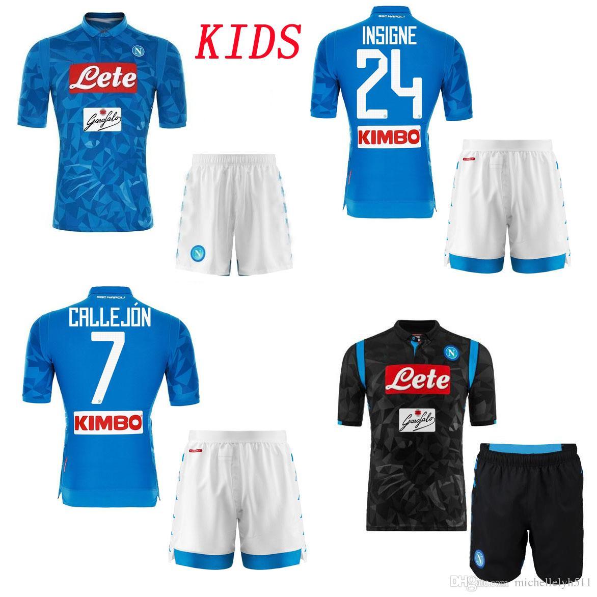Compre 18 19 Kids Kit SSC Napoli Camisetas De Fútbol Shorts Nápoles INSIGNE  HAMSIK Zielinski GABBIADINI MERTENS Conjuntos De Fútbol Niños Uniformes ... 998ceff2b34c0