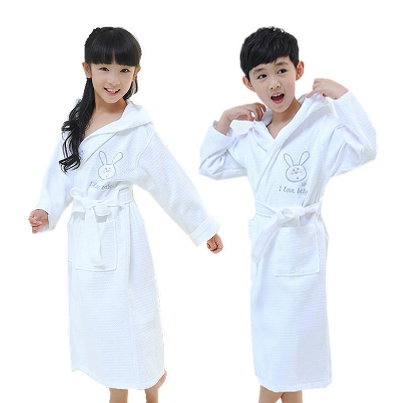 Children Bathrobe Boys Girls Sleepwear Robe Cotton Waffle Roupao Kids Girls  Pink Pyjamas Bathrobes Boys White Hooded Bath Robes Y18102908 Summer Pjs  For ... 4b56d73fa