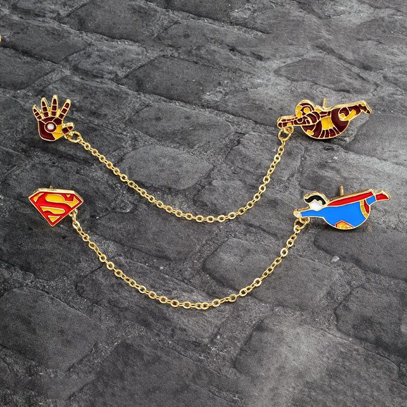 Мультфильм Капитан Америка супер Летучая Мышь Паук Железный человек брошь булавки пряжки джинсовая куртка рубашка отворотом контактный значок ювелирные изделия подарок