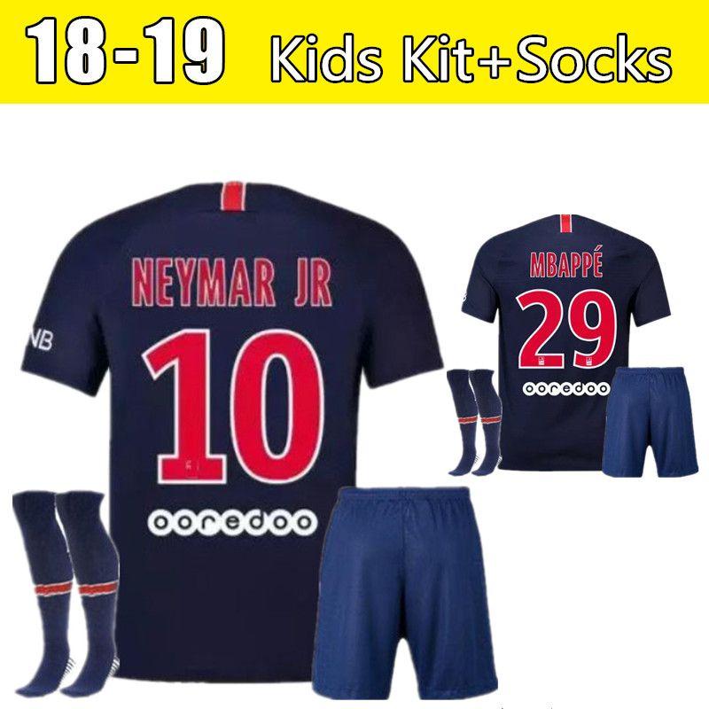 97605daf08f ... spain 2018 2018 2019 paris saint germain psg soccer jersey kids  kitsocks 19 18 7 mbappe