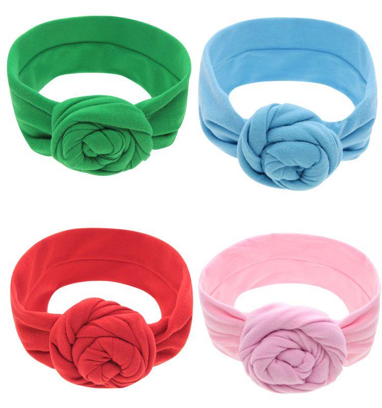Baby Top Knot rose Headband Toddler soft Turban photography props retro Hair Accessories girls boys Headband wrap LC698-1