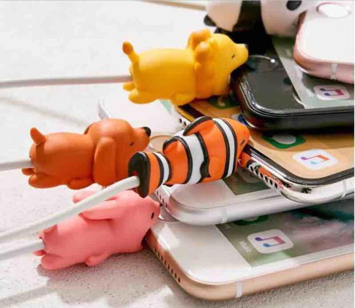 Cable Bite Charger Protector de cable Cubierta protectora para iPhone Lightning Diseño animal lindo Cable de carga sin paquete al por menor MQ300