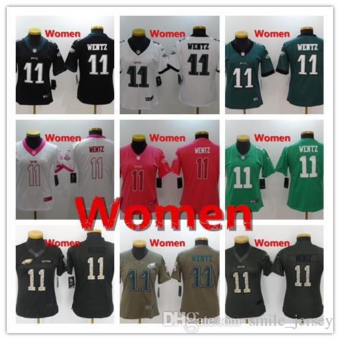 Women 11 Carson Wentz Philadelphia Jersey Eagles Football Jersey 100 ... b56836d52