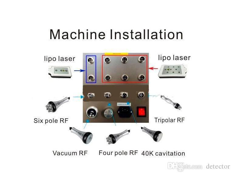 High Quality 40k Ultrasonic liposuction Cavitation 8 Pads LLLT lipo Laser Slimming Machine Vacuum RF Skin Care Salon Spa Use Equipment