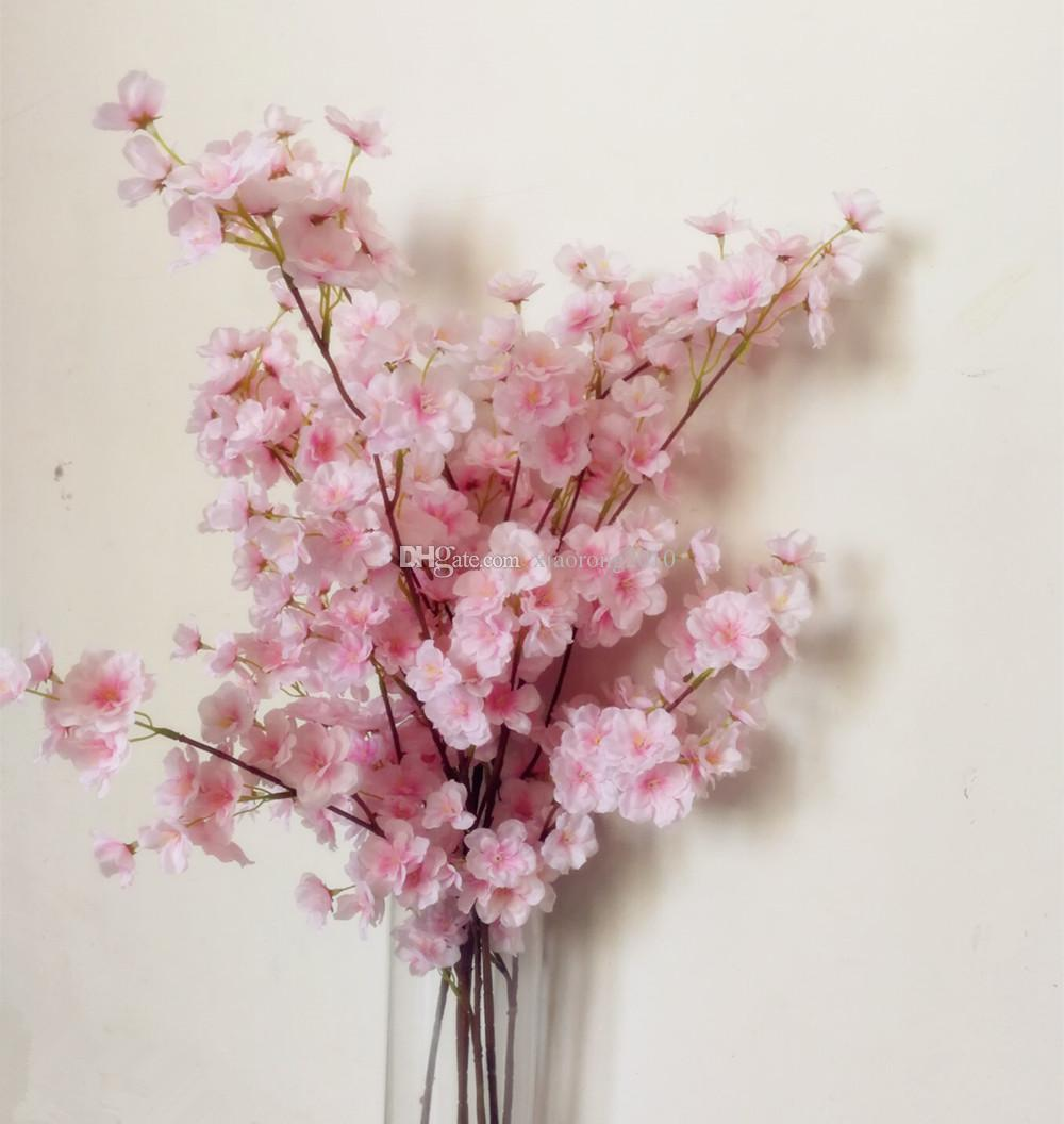 2018 Pink Cherry Flower Tree Stem Fake Pleiopetalous Sakura Branch